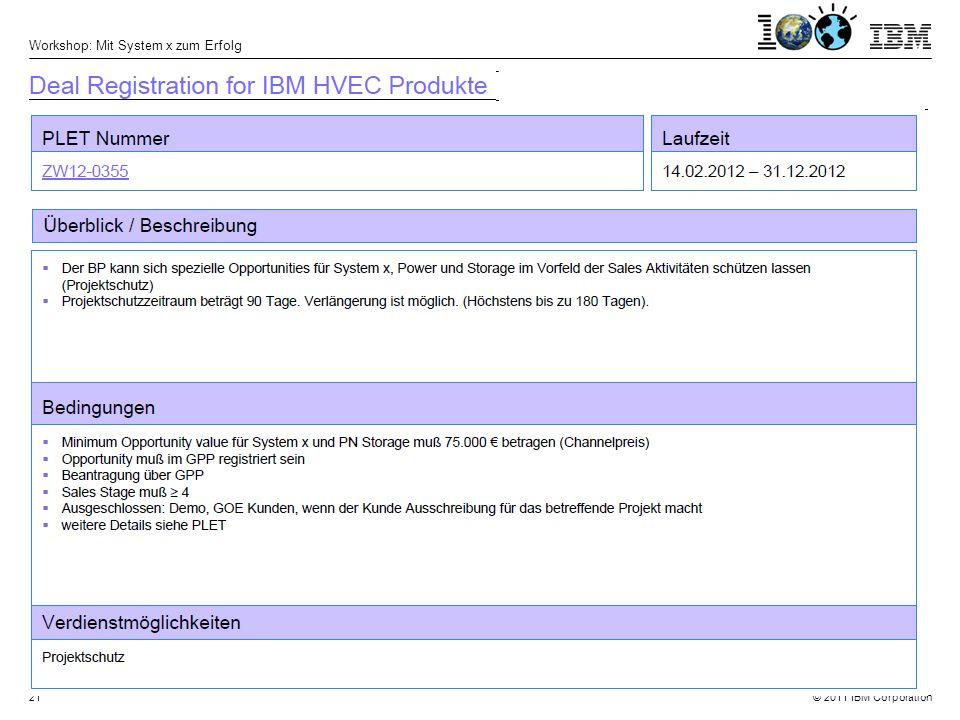 © 2011 IBM Corporation Workshop: Mit System x zum Erfolg 21