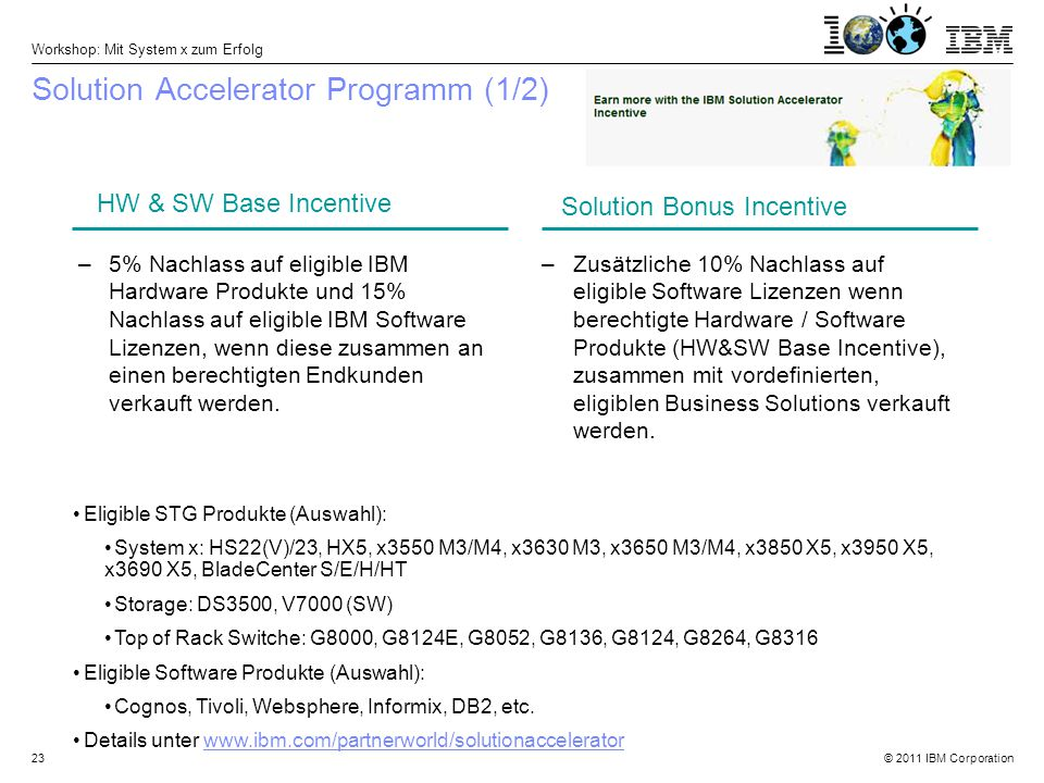 © 2011 IBM Corporation Workshop: Mit System x zum Erfolg 23 Solution Accelerator Programm (1/2) –5% Nachlass auf eligible IBM Hardware Produkte und 15% Nachlass auf eligible IBM Software Lizenzen, wenn diese zusammen an einen berechtigten Endkunden verkauft werden.