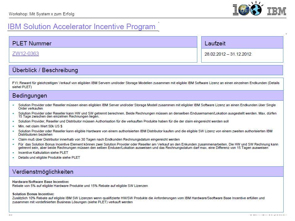 © 2011 IBM Corporation Workshop: Mit System x zum Erfolg 25