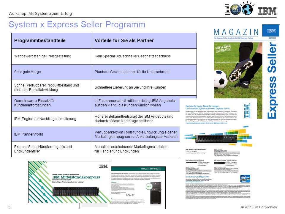 © 2011 IBM Corporation Workshop: Mit System x zum Erfolg 4 Express Seller ist der Name eines speziell für den Channel Vertrieb entwickelten Programmes.