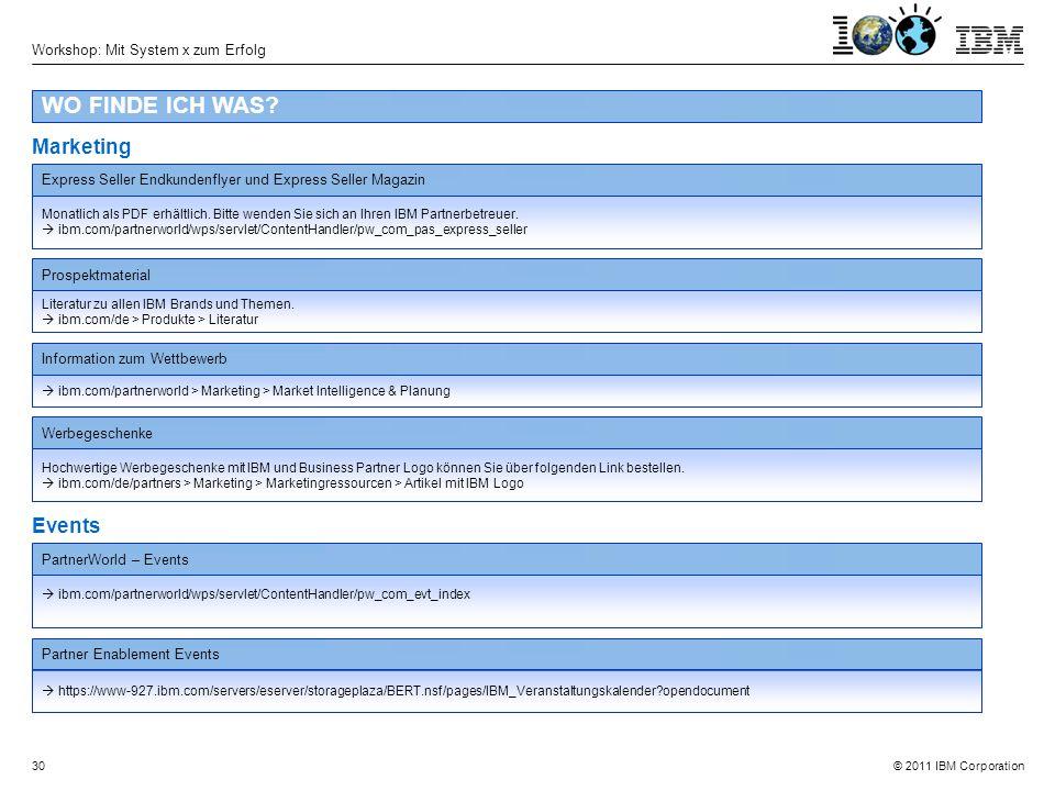 © 2011 IBM Corporation Workshop: Mit System x zum Erfolg 30 WO FINDE ICH WAS.