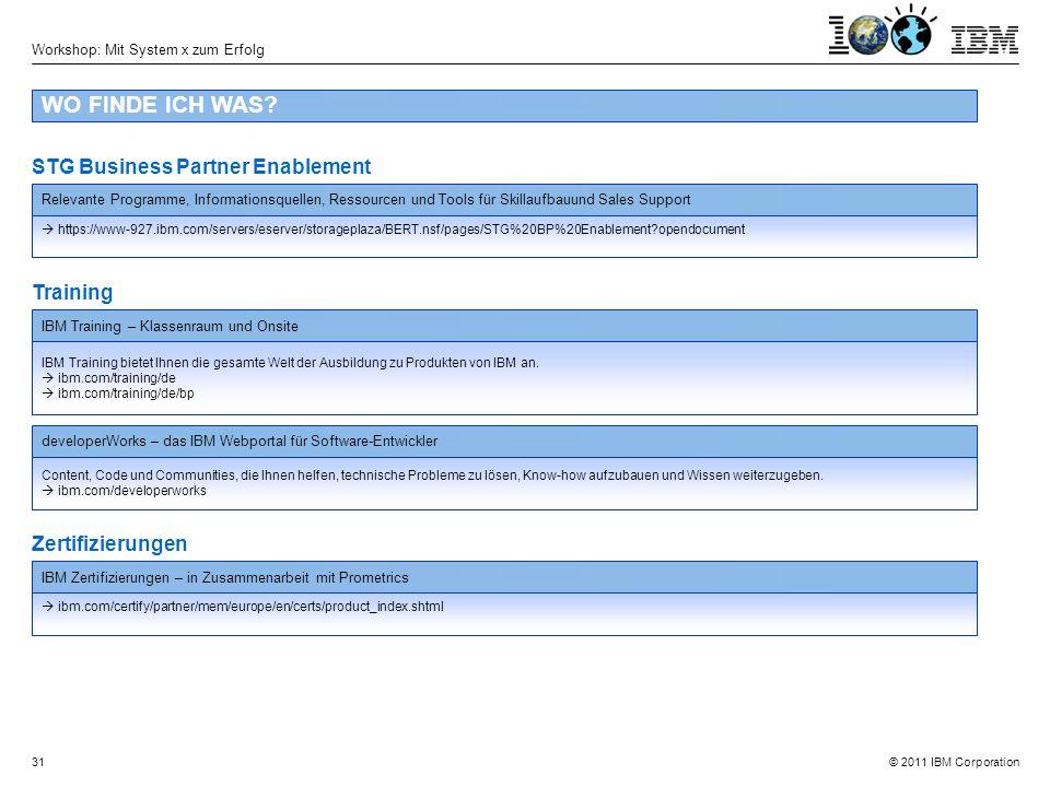 © 2011 IBM Corporation Workshop: Mit System x zum Erfolg 31 WO FINDE ICH WAS.