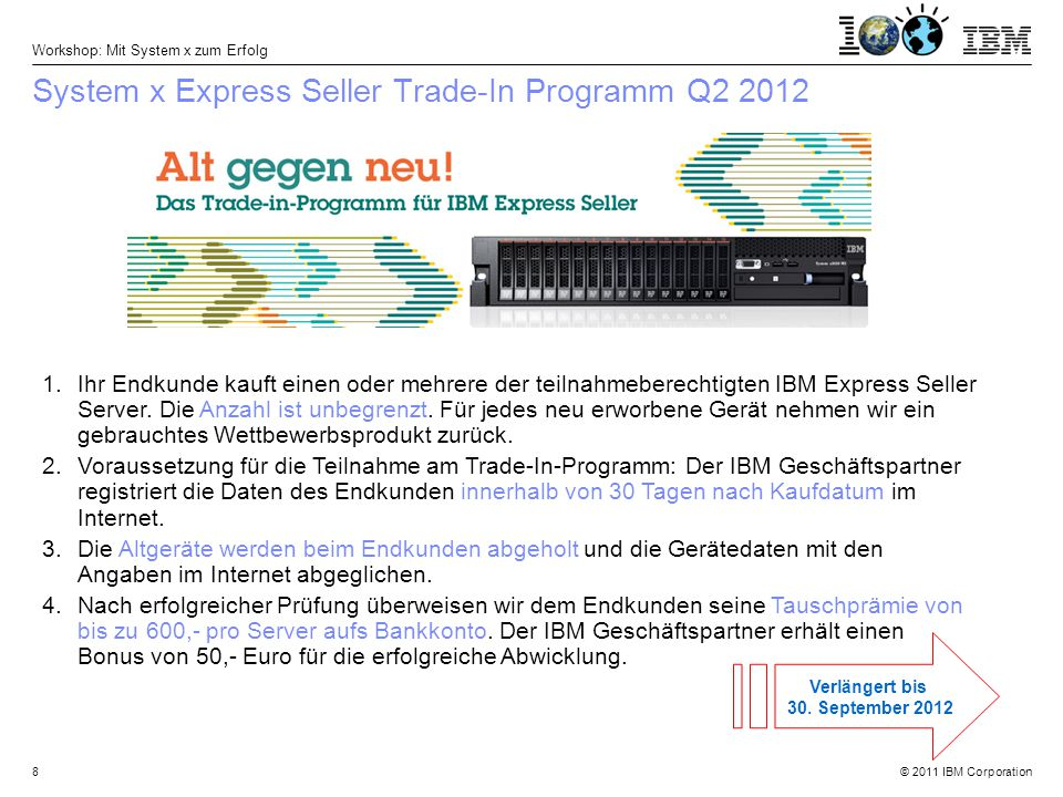 © 2011 IBM Corporation Workshop: Mit System x zum Erfolg 9 Ihre Tauschprämie beim Kauf eines Express Seller Servers