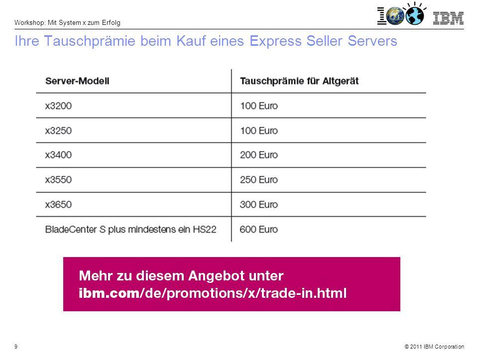© 2011 IBM Corporation Workshop: Mit System x zum Erfolg 20 Anhang