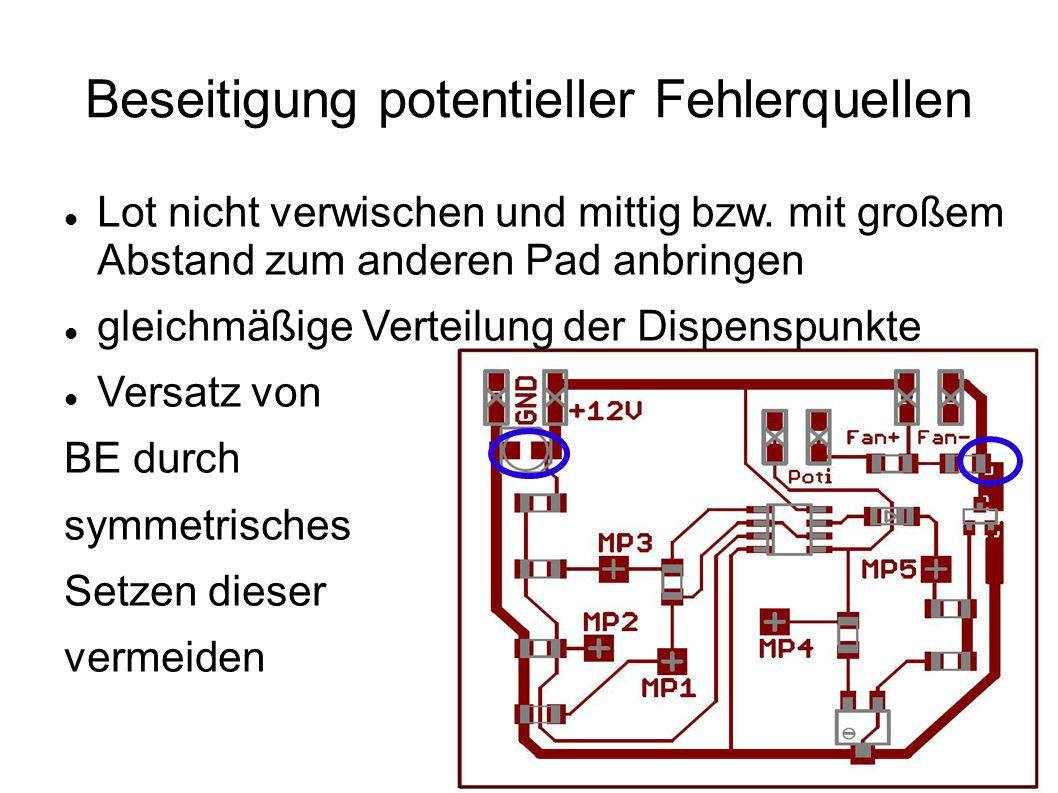 Aufbringen des Lotwerkstoffs Sollvolumen für die Dots sollte dem Volumen eines äquivalenten Quaders entsprechen, der 90 Prozent der Padfläche bei einer Höhe von 200µm bedeckt Nadeldurchmesser 0,6 mm(Farbcode: rosa) Variation der Menge der Lotpaste nur durch Verändern der Zeit des Druckerimpulses Einteilung der Padflächen in 4 Gruppen