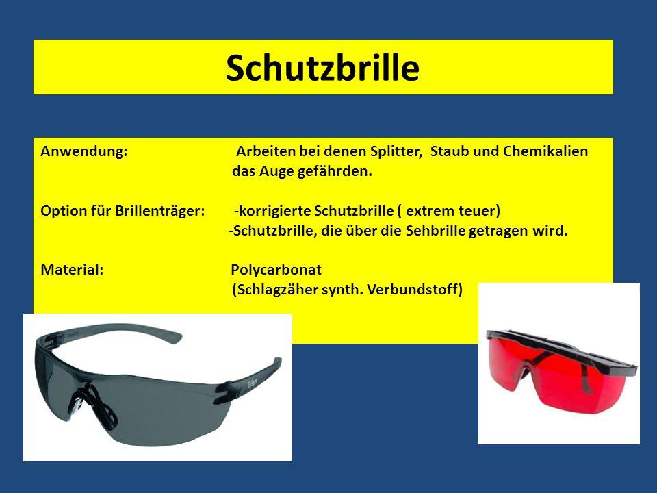 Schutzbrille Anwendung: Arbeiten bei denen Splitter, Staub und Chemikalien das Auge gefährden.