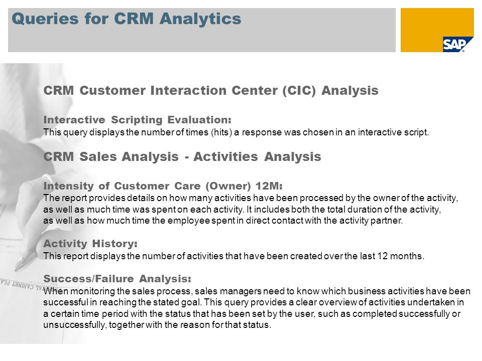 Queries for CRM Analytics CRM Sales Analysis - Opportunities Analysis Pipeline Analysis per Phase: Sales managers need a quick overview of which opportunities in their area are in which phase in order to spot any potential problems or delays.