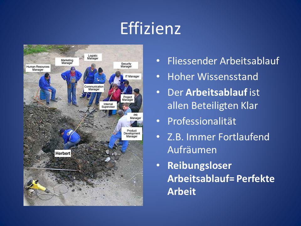 Effizienz Fliessender Arbeitsablauf Hoher Wissensstand Der Arbeitsablauf ist allen Beteiligten Klar Professionalität Z.B.