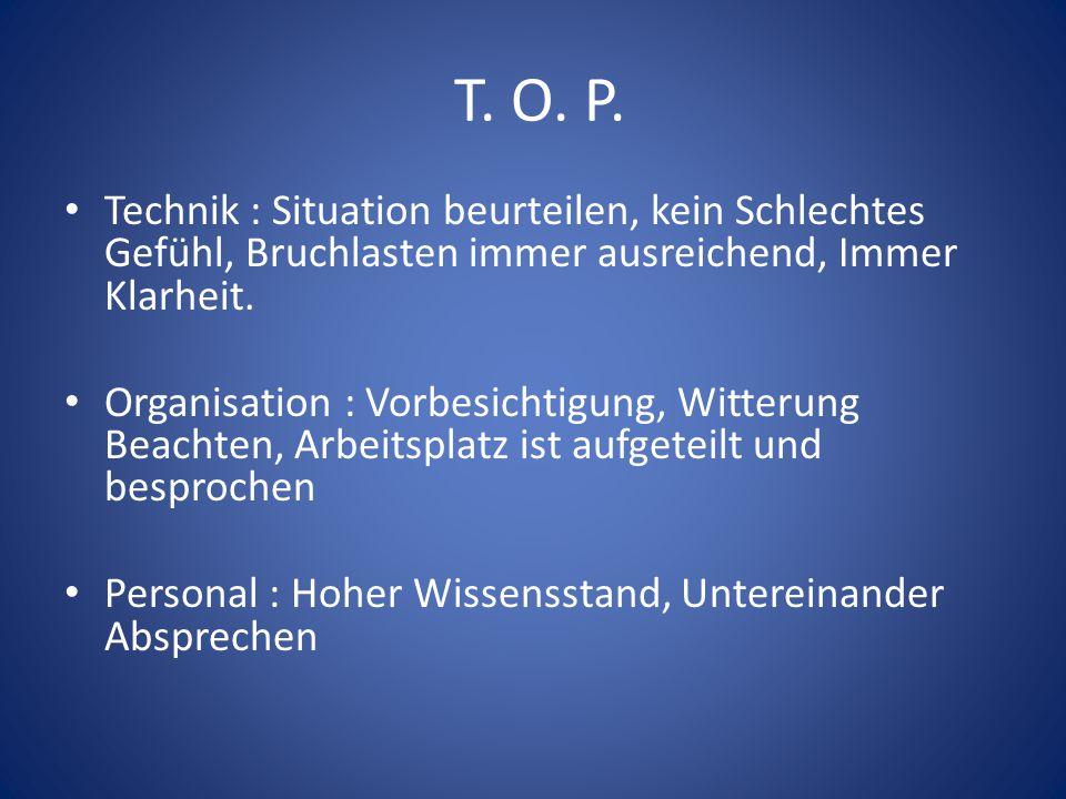 T. O. P. Technik : Situation beurteilen, kein Schlechtes Gefühl, Bruchlasten immer ausreichend, Immer Klarheit. Organisation : Vorbesichtigung, Witter