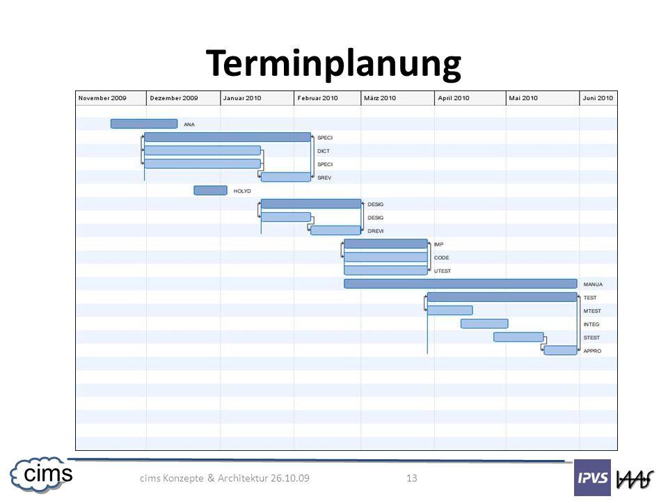 cims Konzepte & Architektur 26.10.09 13 cims Terminplanung