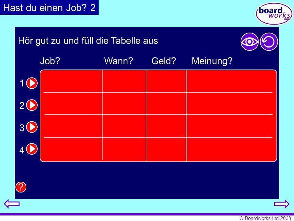 © Boardworks Ltd 2003 Hast du einen Job? 2