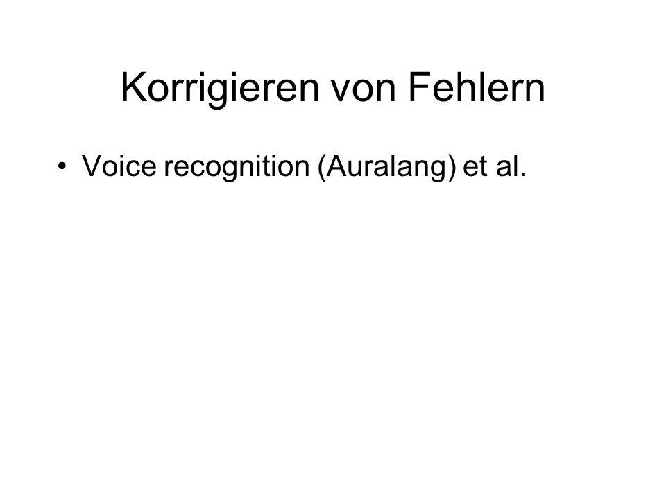 Korrigieren von Fehlern Voice recognition (Auralang) et al.