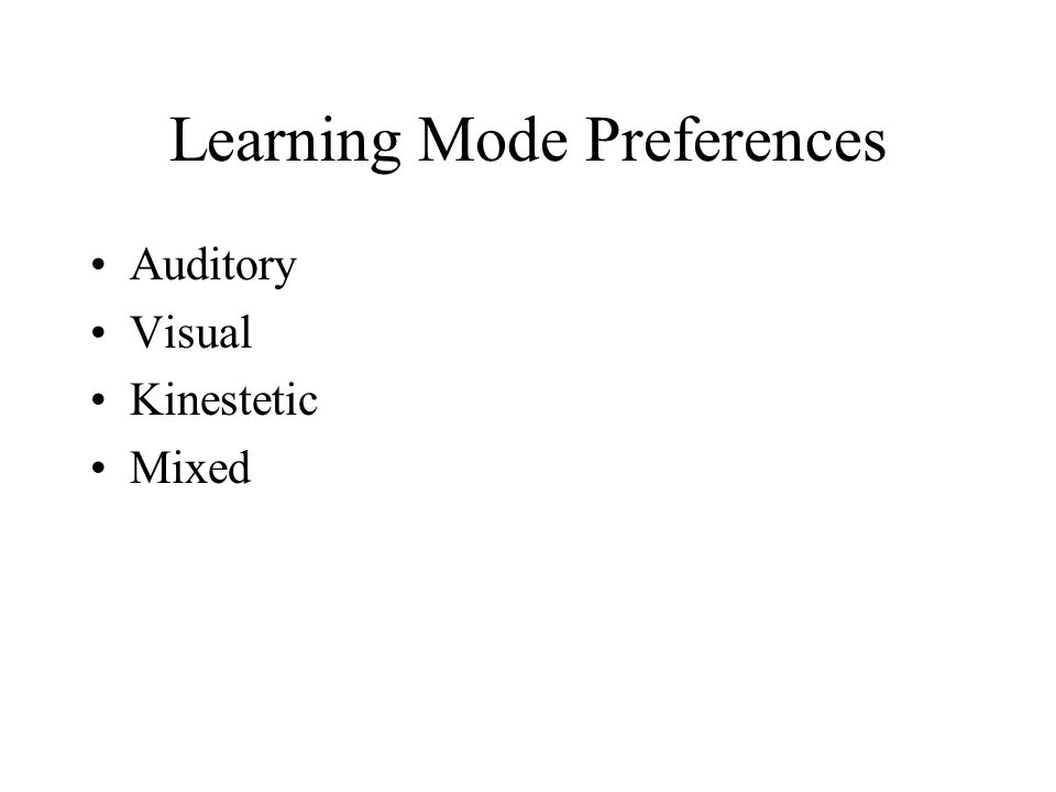 Learning Mode Preferences Auditory Visual Kinestetic Mixed