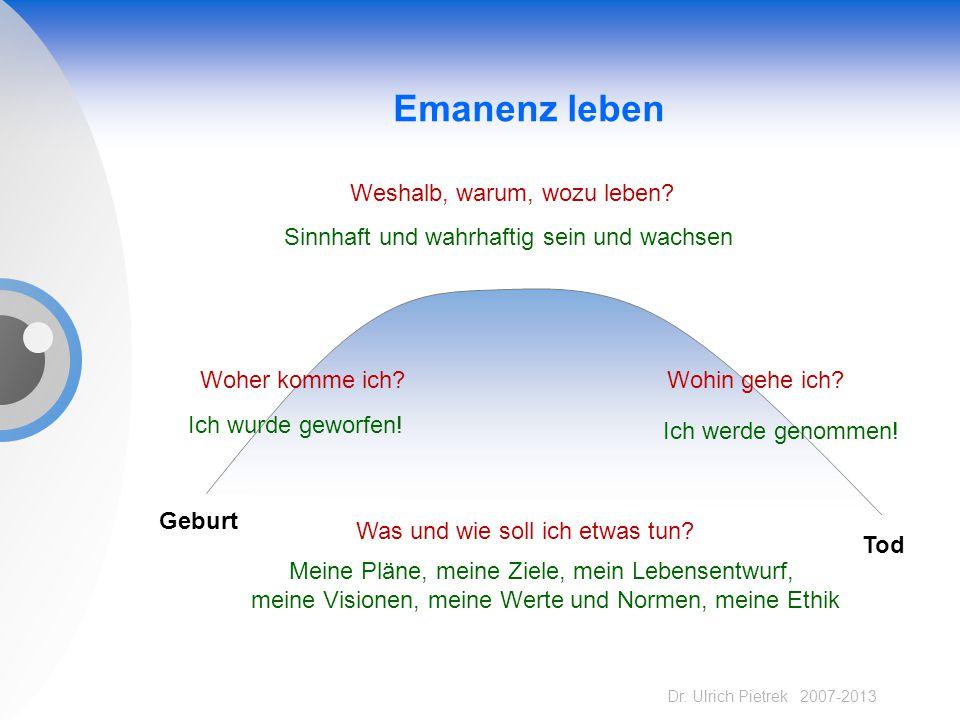 Dr. Ulrich Pietrek 2007-2013 Emanenz leben Geburt Tod Weshalb, warum, wozu leben? Woher komme ich? Ich wurde geworfen! Wohin gehe ich? Ich werde genom