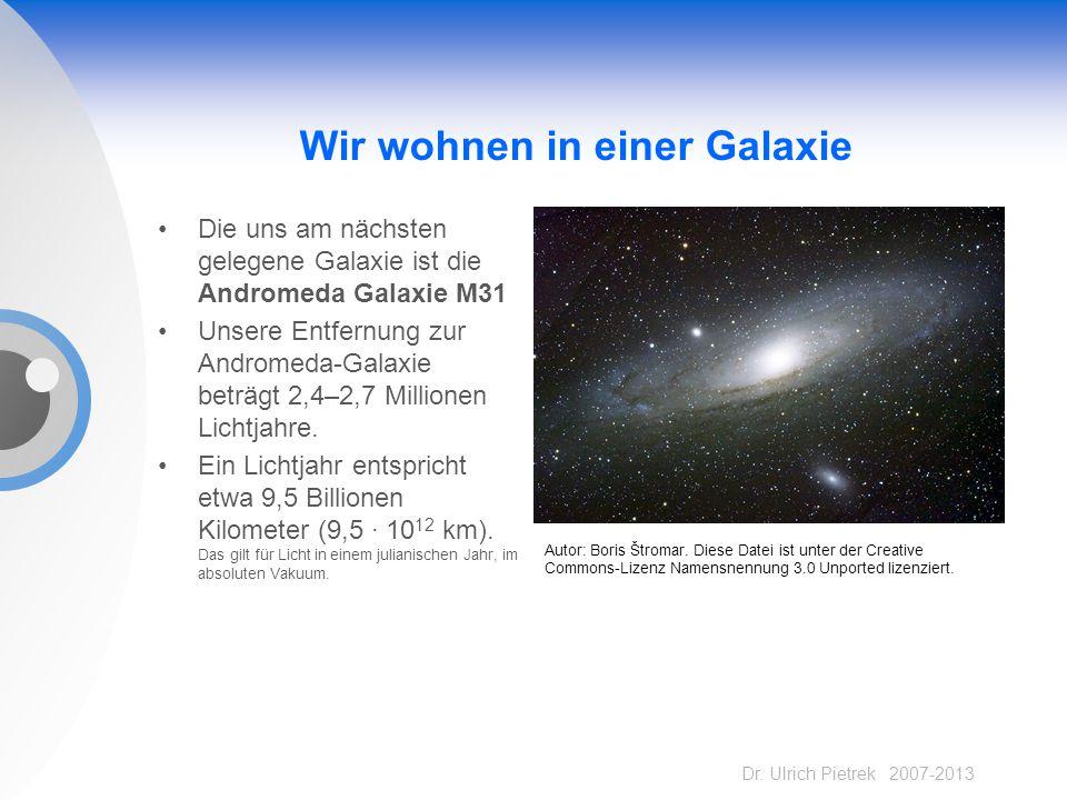 Dr. Ulrich Pietrek 2007-2013 Wir wohnen in einer Galaxie Die uns am nächsten gelegene Galaxie ist die Andromeda Galaxie M31 Unsere Entfernung zur Andr