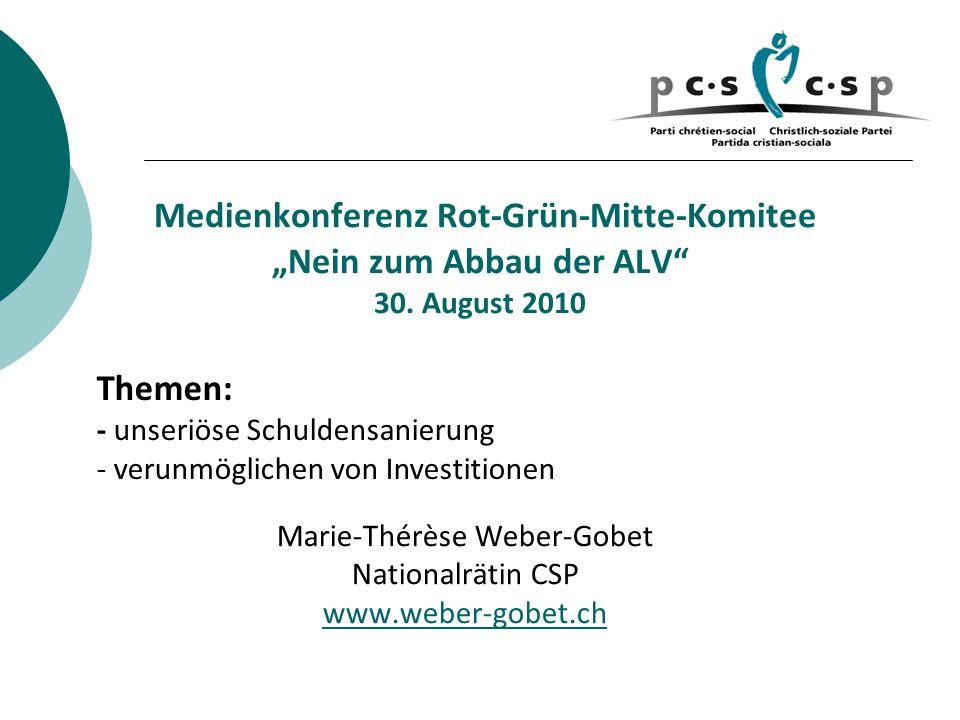 """Medienkonferenz Rot-Grün-Mitte-Komitee """"Nein zum Abbau der ALV 30."""