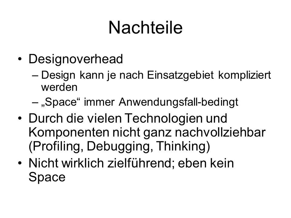 """Nachteile Designoverhead –Design kann je nach Einsatzgebiet kompliziert werden –""""Space immer Anwendungsfall-bedingt Durch die vielen Technologien und Komponenten nicht ganz nachvollziehbar (Profiling, Debugging, Thinking) Nicht wirklich zielführend; eben kein Space"""
