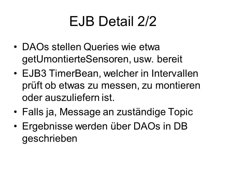 EJB Detail 2/2 DAOs stellen Queries wie etwa getUmontierteSensoren, usw.