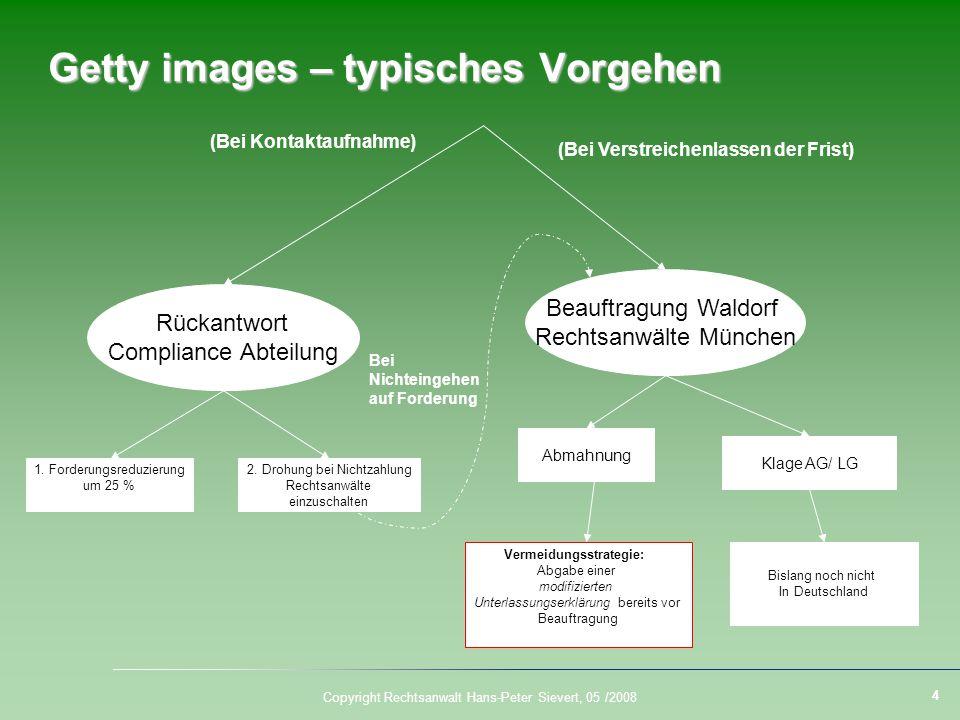 4 Copyright Rechtsanwalt Hans-Peter Sievert, 05 /2008 Getty images – typisches Vorgehen Rückantwort Compliance Abteilung Beauftragung Waldorf Rechtsan