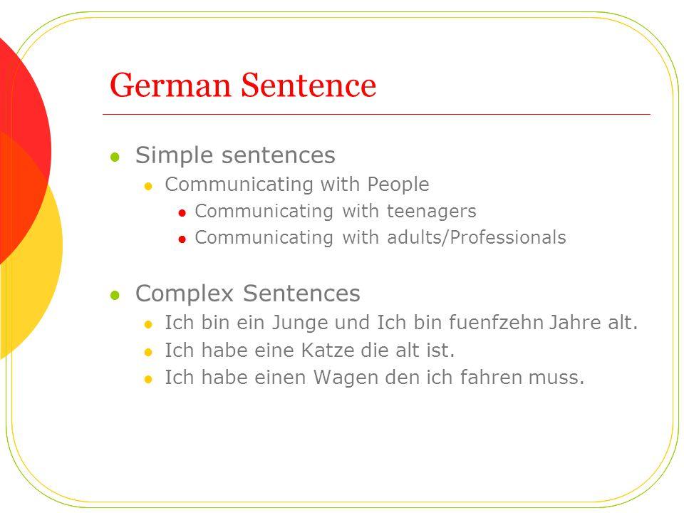 German Sentence Simple sentences Communicating with People Communicating with teenagers Communicating with adults/Professionals Complex Sentences Ich bin ein Junge und Ich bin fuenfzehn Jahre alt.