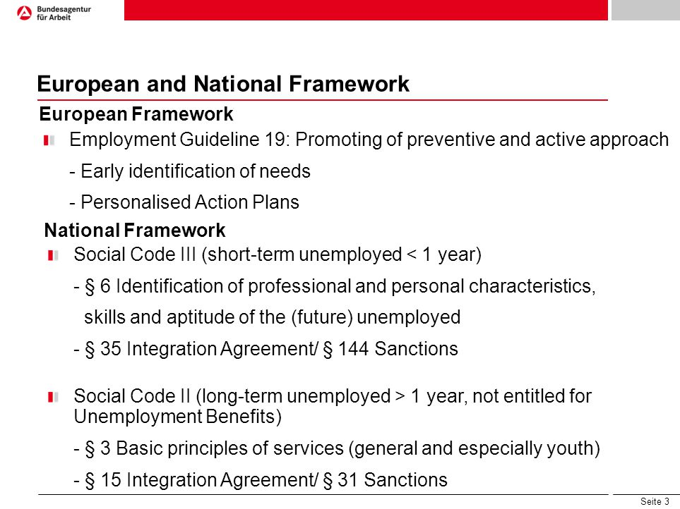 Seite 3 European and National Framework Employment Guideline 19: Promoting of preventive and active approach - Early identification of needs - Persona