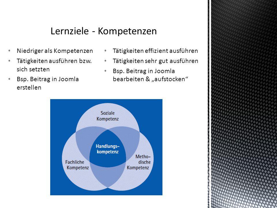 """Tätigkeiten effizient ausführen Tätigkeiten sehr gut ausführen Bsp. Beitrag in Joomla bearbeiten & """"aufstocken"""" Niedriger als Kompetenzen Tätigkeiten"""