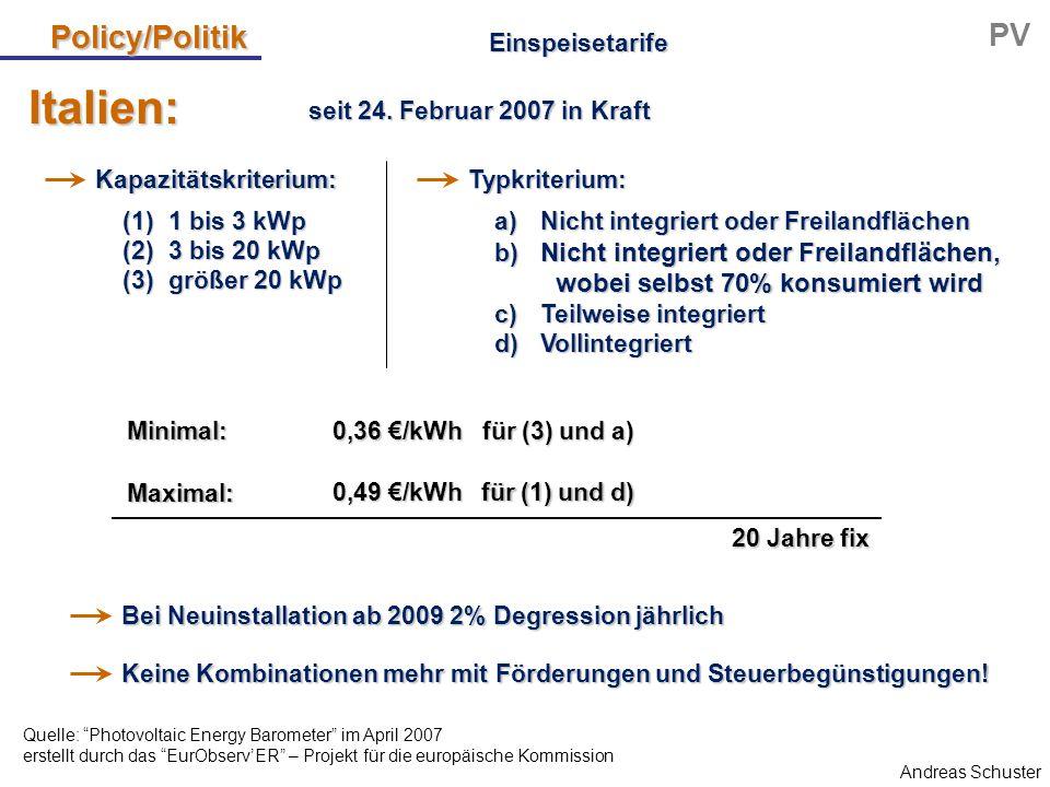 Andreas Schuster Policy/Politik PV (1) 1 bis 3 kWp (2) 3 bis 20 kWp (3) größer 20 kWp Italien: Einspeisetarife 0,36 €/kWh für (3) und a) 0,49 €/kWh fü