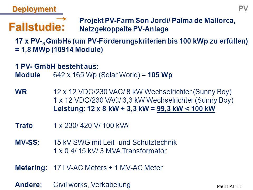 "Paul HATTLE Deployment PV Projekt PV-Farm Son Jordi/ Palma de Mallorca, Netzgekoppelte PV-Anlage Fallstudie: 17 x PV-""GmbHs (um PV-Förderungskriterien"