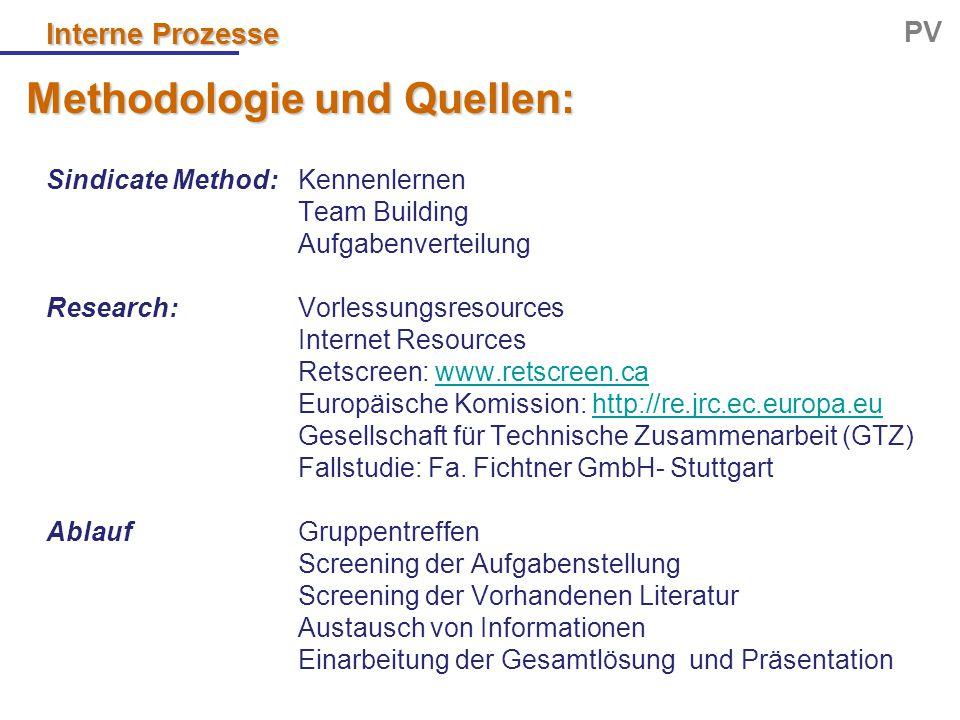 Interne Prozesse PV Methodologie und Quellen: Sindicate Method: Kennenlernen Team Building Aufgabenverteilung Research:Vorlessungsresources Internet R