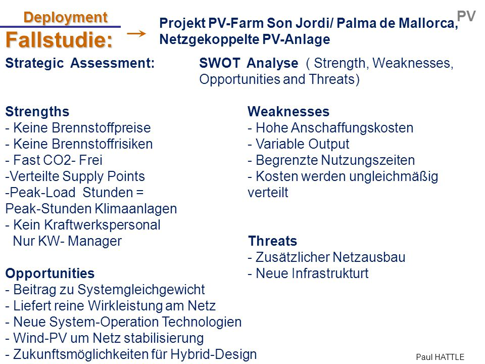Paul HATTLE Fallstudie: Deployment PV Strategic Assessment: SWOT Analyse ( Strength, Weaknesses, Opportunities and Threats) StrengthsWeaknesses - Kein