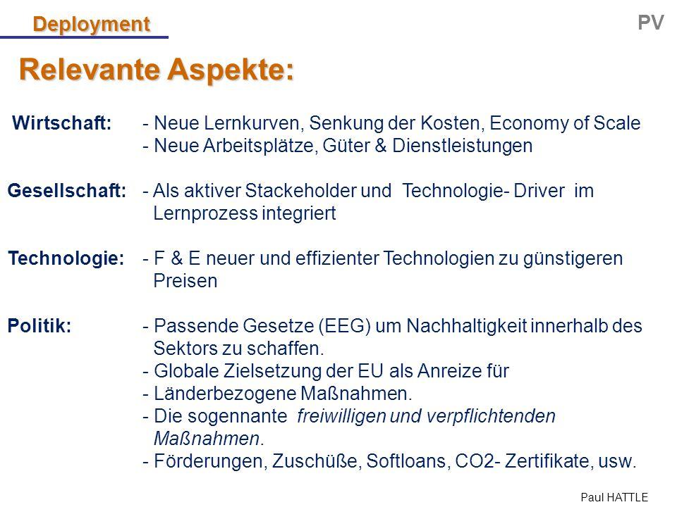 Paul HATTLE Relevante Aspekte: Deployment PV Wirtschaft: - Neue Lernkurven, Senkung der Kosten, Economy of Scale - Neue Arbeitsplätze, Güter & Dienstl