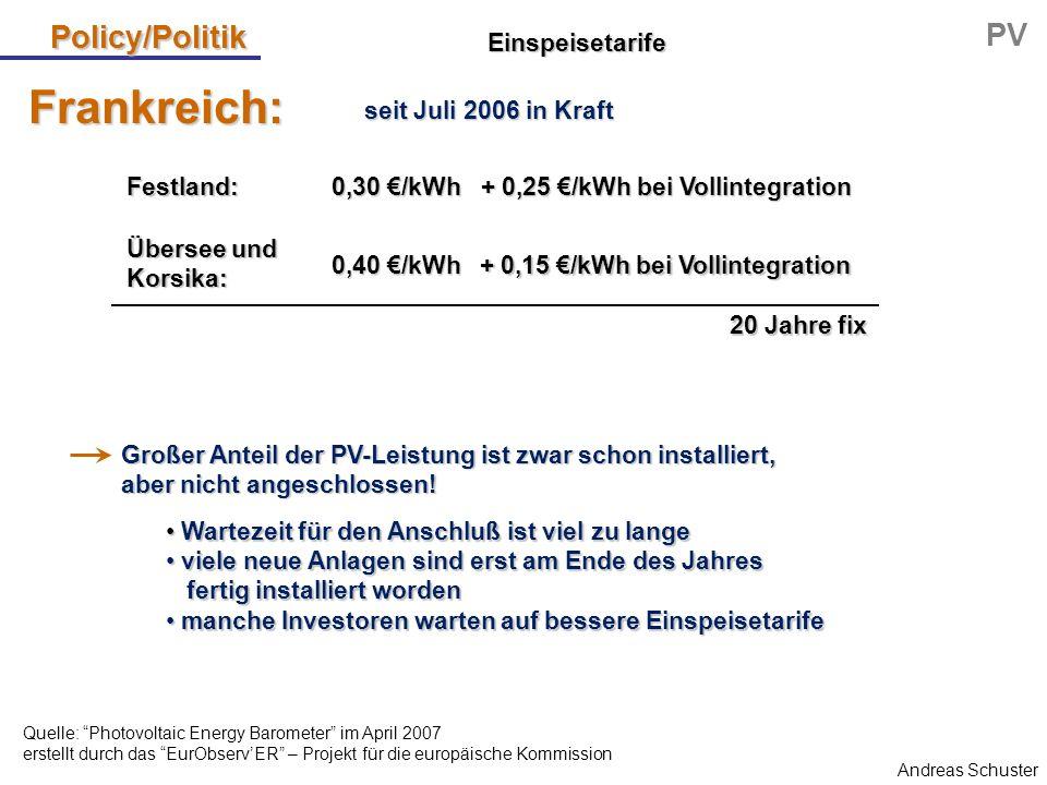 Andreas Schuster Policy/Politik PV Wartezeit für den Anschluß ist viel zu lange Wartezeit für den Anschluß ist viel zu lange viele neue Anlagen sind e
