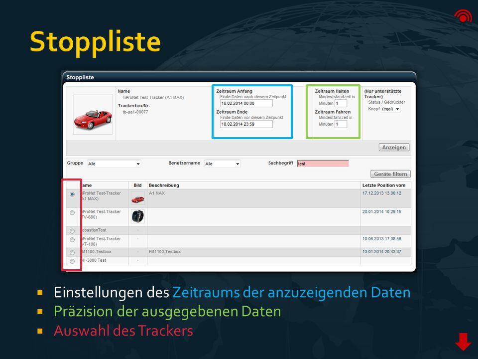  Einstellungen des Zeitraums der anzuzeigenden Daten  Präzision der ausgegebenen Daten  Auswahl des Trackers