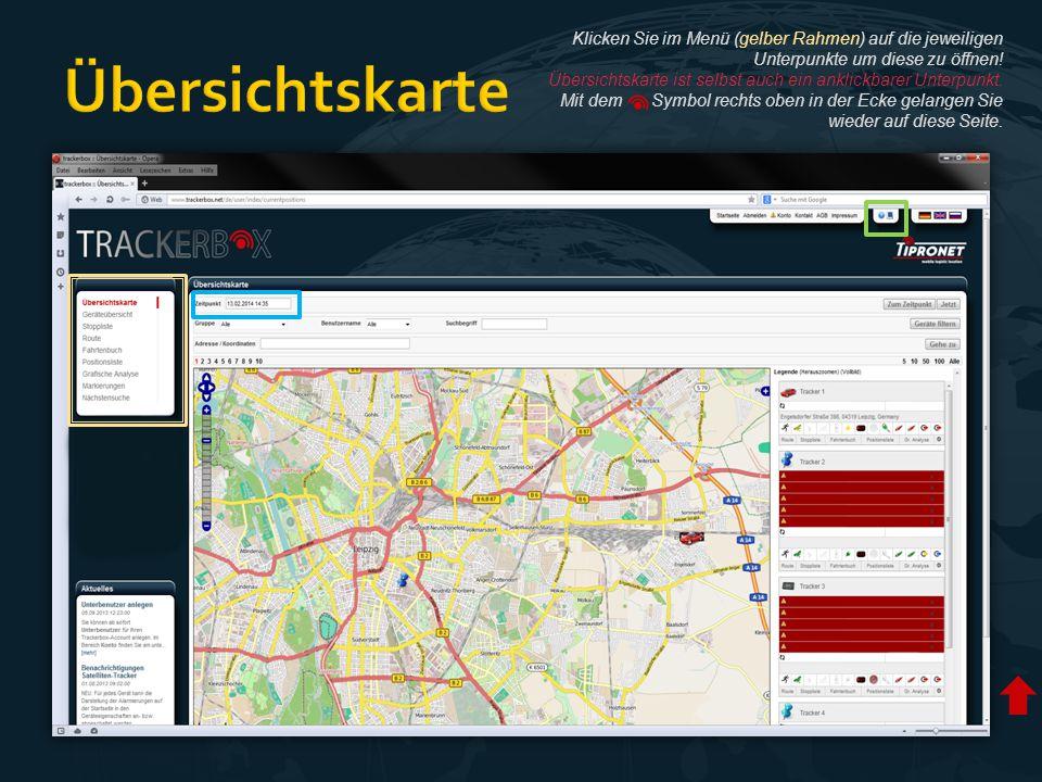  Trackerbox Seite nach der Anmeldung  Übersichtskarte mit Positionen von allen Trackern  Zoomstufe der Karte kann gewählt werden  Rechts: aktuelle Daten aller Tracker  Daten und Position der aktuell letzten Meldung an den Server  Mit Datum-/Zeitwähler können Daten aus der Vergangenheit abgefragt werden  Links zu Supportseiten und dem Handbuch