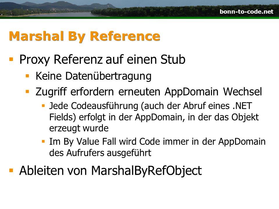 bonn-to-code.net Marshal By Reference  Proxy Referenz auf einen Stub  Keine Datenübertragung  Zugriff erfordern erneuten AppDomain Wechsel  Jede C