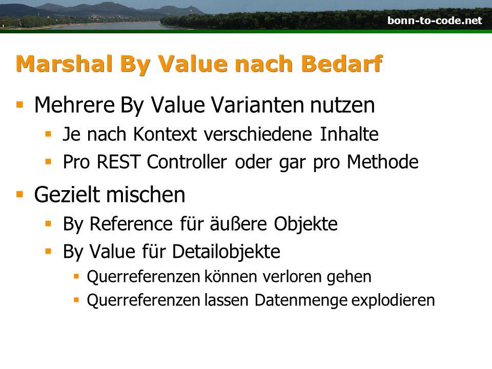 bonn-to-code.net Marshal By Value nach Bedarf  Mehrere By Value Varianten nutzen  Je nach Kontext verschiedene Inhalte  Pro REST Controller oder ga
