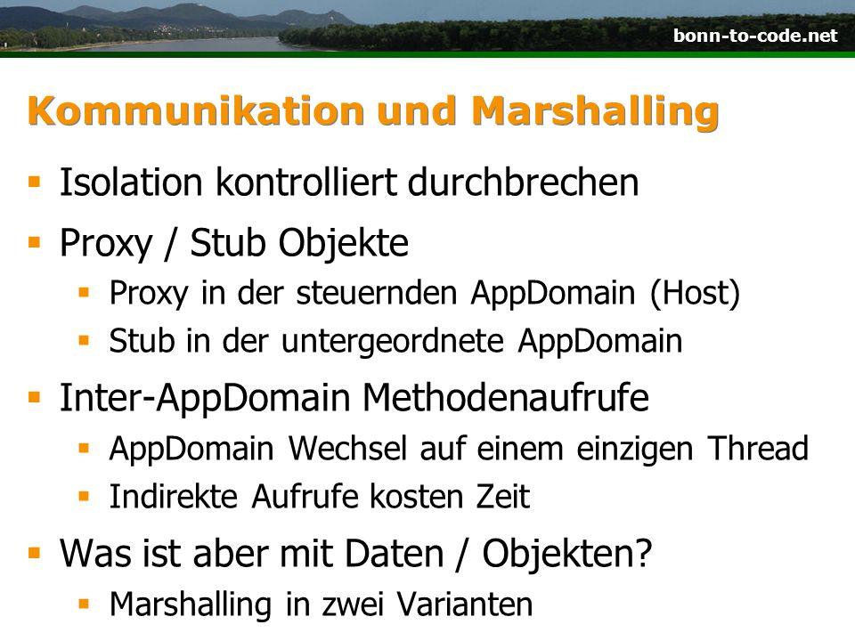 bonn-to-code.net Kommunikation und Marshalling  Isolation kontrolliert durchbrechen  Proxy / Stub Objekte  Proxy in der steuernden AppDomain (Host)