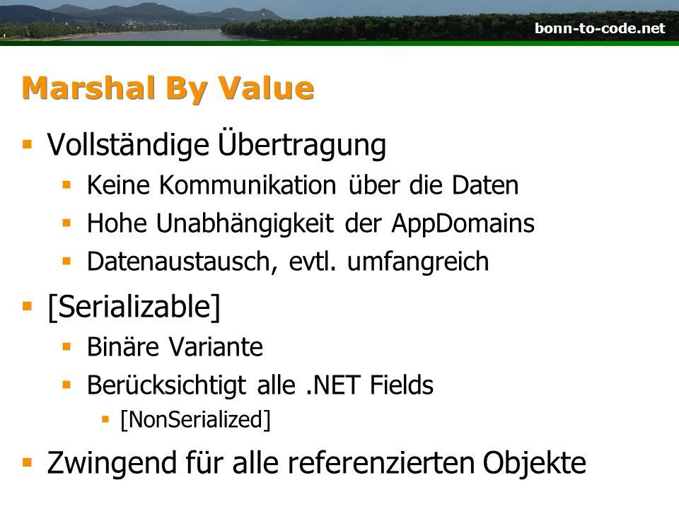 bonn-to-code.net Marshal By Value  Vollständige Übertragung  Keine Kommunikation über die Daten  Hohe Unabhängigkeit der AppDomains  Datenaustausc