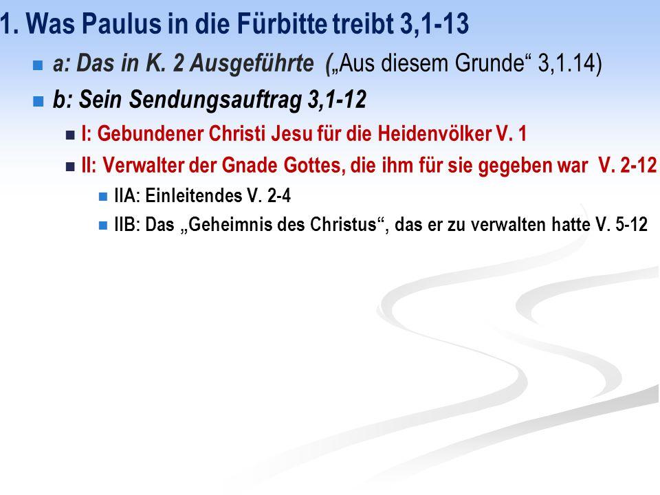"""1. Was Paulus in die Fürbitte treibt 3,1-13 a : Das in K. 2 Ausgeführte ( """"Aus diesem Grunde"""" 3,1.14) b: Sein Sendungsauftrag 3,1-12 I: Gebundener Chr"""