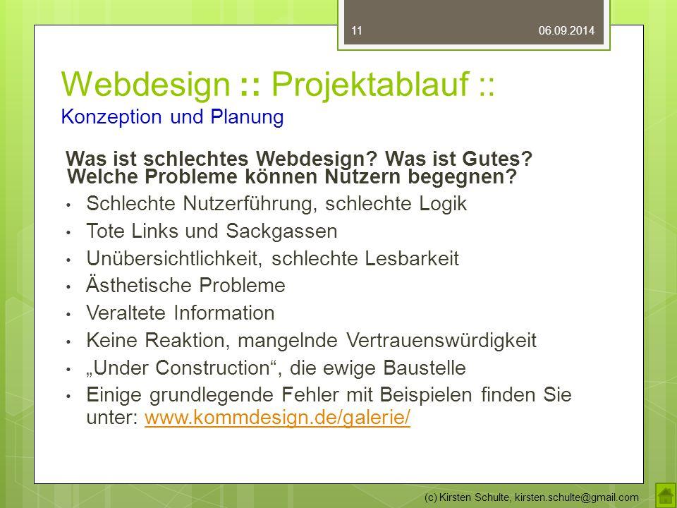 Webdesign :: Projektablauf :: Konzeption und Planung Was ist schlechtes Webdesign? Was ist Gutes? Welche Probleme können Nutzern begegnen? Schlechte N