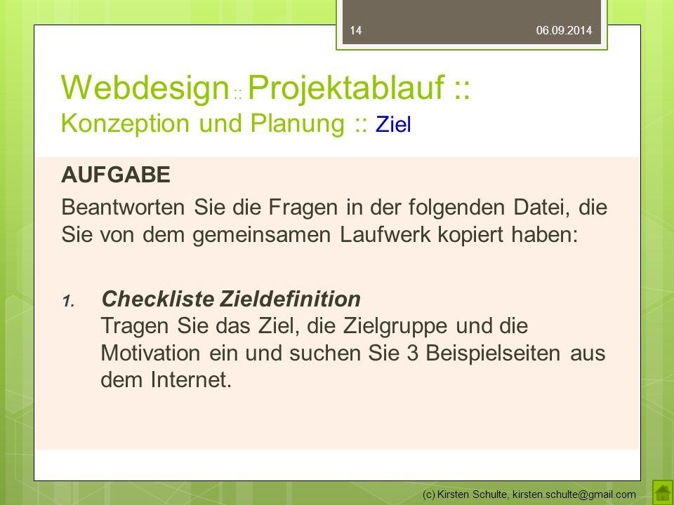Webdesign :: Projektablauf :: Konzeption und Planung :: Ziel AUFGABE Beantworten Sie die Fragen in der folgenden Datei, die Sie von dem gemeinsamen Laufwerk kopiert haben: 1.