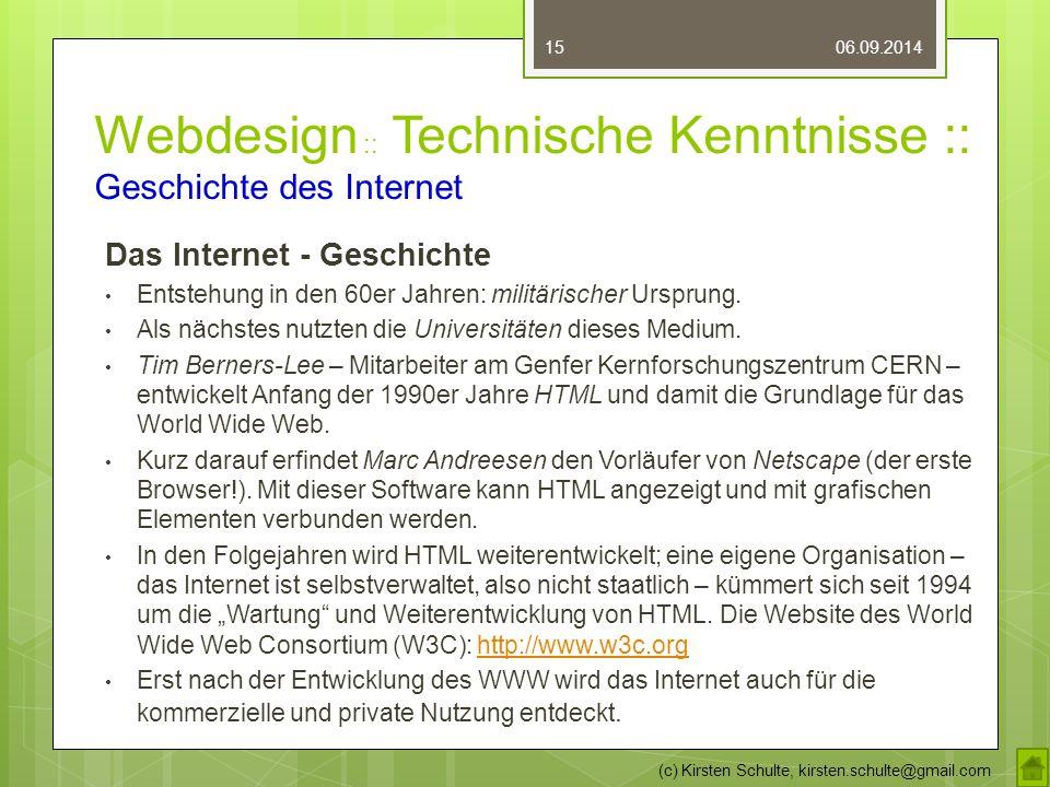 Webdesign :: Technische Kenntnisse :: Geschichte des Internet Das Internet - Geschichte Entstehung in den 60er Jahren: militärischer Ursprung.