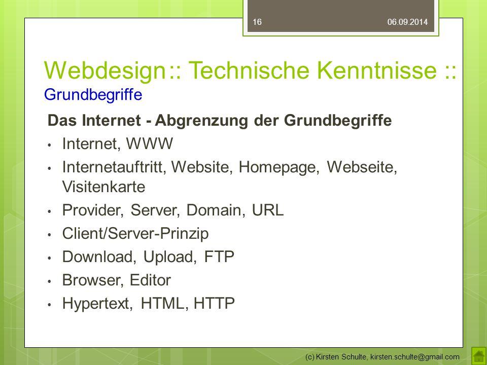 Webdesign :: Technische Kenntnisse :: Grundbegriffe Das Internet - Abgrenzung der Grundbegriffe Internet, WWW Internetauftritt, Website, Homepage, Web