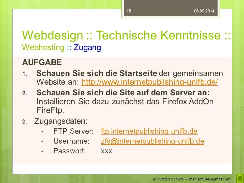 Webdesign :: Technische Kenntnisse :: Webhosting :: Zugang AUFGABE 1.