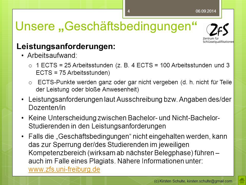 """Unsere """"Geschäftsbedingungen"""" 06.09.2014 (c) Kirsten Schulte, kirsten.schulte@gmail.com 4 Leistungsanforderungen: Arbeitsaufwand: o 1 ECTS = 25 Arbeit"""