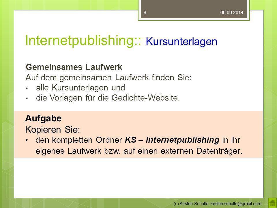 Internetpublishing:: Kursunterlagen Gemeinsames Laufwerk Auf dem gemeinsamen Laufwerk finden Sie: alle Kursunterlagen und die Vorlagen für die Gedichte-Website.