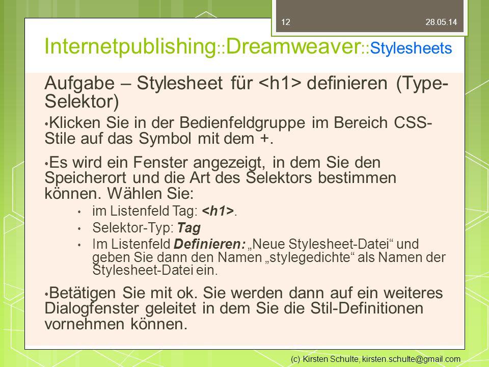 Internetpublishing :: Dreamweaver ::Stylesheets Aufgabe – Stylesheet für definieren (Type- Selektor) Klicken Sie in der Bedienfeldgruppe im Bereich CSS- Stile auf das Symbol mit dem +.