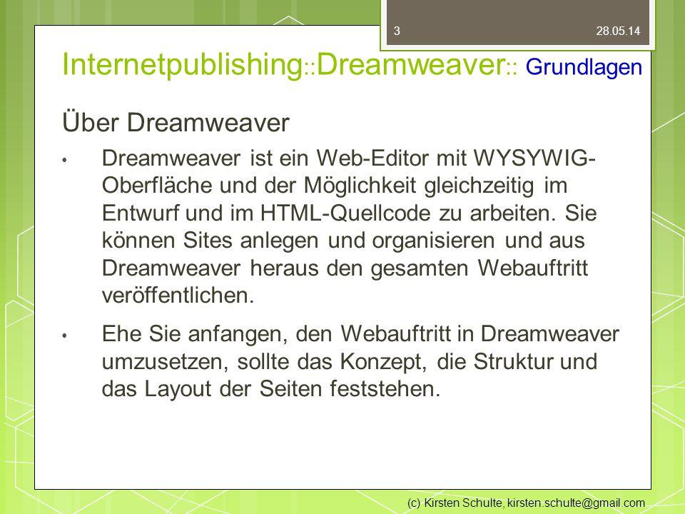 Internetpublishing :: Dreamweaver :: Grundlagen Über Dreamweaver Dreamweaver ist ein Web-Editor mit WYSYWIG- Oberfläche und der Möglichkeit gleichzeitig im Entwurf und im HTML-Quellcode zu arbeiten.