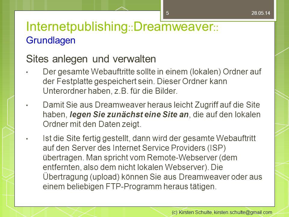 Internetpublishing :: Dreamweaver :: Grundlagen Sites anlegen und verwalten Der gesamte Webauftritte sollte in einem (lokalen) Ordner auf der Festplatte gespeichert sein.