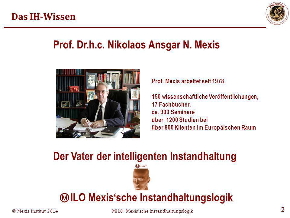 © Mexis-Institut 2014MILO -Mexis'sche Instandhaltungslogik 3 Das alte Institut Institut für Analytik und Schachstellenforschung Prof.